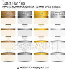 Gold Silver Platinum Chart Eps Vector Estate Planning Chart Bronze Silver Gold