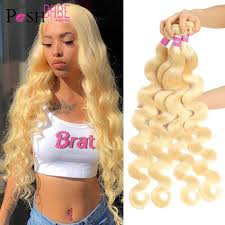 POSH BABE 1/3/4 Bundles Malaysian Body Wave Remy Human Hair Extensions  Weave 8 36 inch 613 Platinum Blonde Color Bundles Weft| | - AliExpress