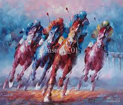 2018 horse oil painting horse running competetion handmade oil painting home decoration wall art from sunstong 01 65 33 dhgate com