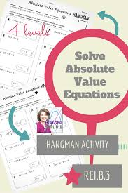 solving absolute value equations practice with a hangman twist a built in message makes