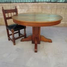 antique oak dining room furniture table vintage round kabujouhou home solid refectory and chairs from oval
