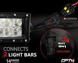 amazon com opt7 14 gauge 380w dual wiring harness w switch for amazon com opt7 14 gauge 380w dual wiring harness w switch for off road led light bar 11ft dimmer strobe 80ft range plug and play waterproof relay