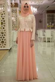 Neva Style Salmon Pink Hijab Evening Dress 7128smn Neva