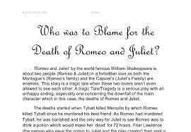 who was to blame for the death of romeo and juliet gcse english  document image preview