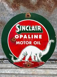 vine porcelain sinclair opaline motor oil gasoline service station sign 1 of 7
