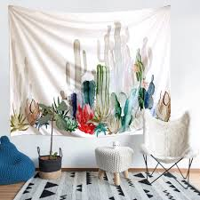 cactus tapestry arfbear wall hangings yellow and green watercolor printed nature large tablecloths wall tapestry 61x78