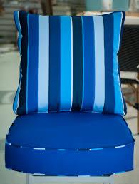 Custom Chair Cushion In Sunbrella Canvas True Blue With A Milano
