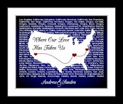 anniversary gift us s map wall art personalized for couples who travel song unique love usa wife husband him birthday gift 8x10 print