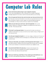Computer Lab Rules Chart List For Class Room Online