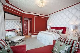 Bedroom Nice Wall Decor Stunning Modern Red And White Bedroom