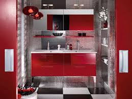 bathroom large size inspiring modern red bathroom decor with gloss acrylic floating vanity double sink