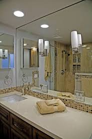 mirrored lighting. Los Angeles Mirrored Wood Tray With Contemporary Bathroom Vanity Lights And Sconce Tile Backsplash Lighting