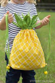 diy pineapple drawstring backback so fun for all ages via make