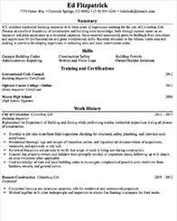 entry level building inspector resume