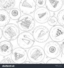 Bakery Cakes Pastries Linear Seamless Pattern Stock Vector Royalty
