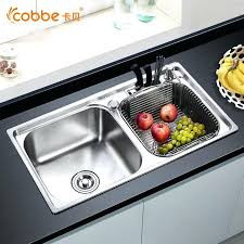 above counter kitchen sink thickness stainless steel double bowl above counter