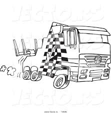 Vector of a Cartoon Fast Tow Truck - Coloring Page Outline by ...