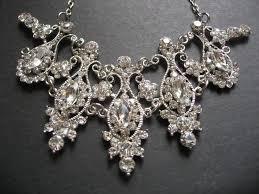vintage style bridal wedding chandelier jewelry rhinestone crystals necklace bridal necklace wedding necklace rhinestones necklace