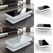 black glass coffee table white high