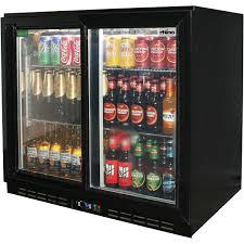 Undercounter Beverage Refrigerator Glass Door Sliding 2 Glass Door Commercial Back Bar Bar Fridge Energy Saving