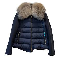 moncler navy blu wool and fur down coat coats outerwear wool navy blue ref