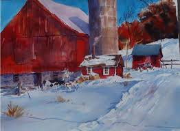watercolor lesson 0012 winter light on red barn