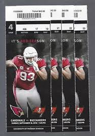 Details About 2016 Nfl Buccaneers Arizona Cardinals Full Unused Football Tickets 4