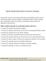 Mcdonalds Cashier Resume Top 8 Mcdonald Cashier Resume Samples