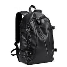 mk men faux leather fashion leisure backpack usb charging travel bag cod