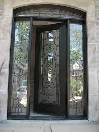 single exterior doors with glass. Simple Glass Wood Grain DoorsSingle Fiberglass Woodgrain Glass Design Front Door With 2  Iron Art Side Inside Single Exterior Doors With I