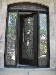wood grain doors single fiberglass woodgrain glass design front door with 2 iron art side