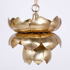 group of six brass lotus light pendants or chandeliers d individually