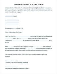 New Employment Certificate Sample For Visa Application Image