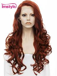 <b>Synthetic</b> lace front wig <b>Imstyle Wavy</b> Dark <b>Red</b> color 26 inches heat ...
