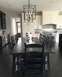 black and white modern farmhouse kitchen with long dining table modern farmhouse dining table n42