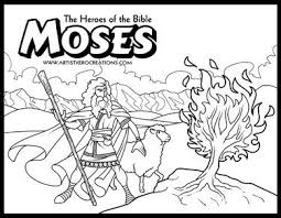 Moses Burning Bush Coloring Page Pages Printable Benneedham Info And