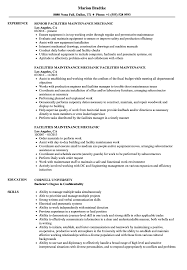 Maintenance Resume Sample Facilities Maintenance Mechanic Resume Samples Velvet Jobs 10
