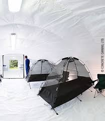 A sealed plastic liner means the shelter can be sterilized, making it  usable as a field hospital.  Concrete Canvas, Ltd.