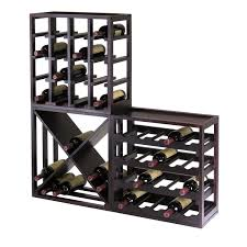 winsome  kingston modular x cube stackable wine rack in dark