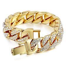 amazon mens womens cuban link bracelet hip hop bracelet snless steel chain bracelet iced out curb cuban 18k gold plated bracelet with clear