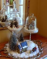 dollar tree vignette display with gl cloches