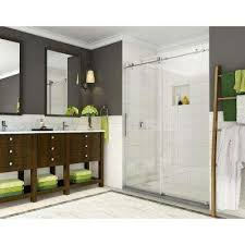 cine 44 in to 48 in x 76 in frameless sliding shower door stainless
