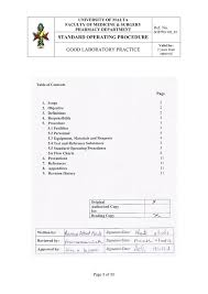 Standard Operating Procedure Good Laboratory Practice Ref No