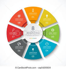 Infographic Circle Process Chart Vector Diagram With 8 Options Can Be Used For Graph Presentation Report Step Options Web Design