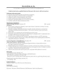 Resume Of Retail Pharmacist Cover Letter Samples Resume For