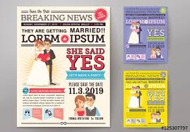 Wedding Invitation Newspaper Template Newspaper Journal Wedding Invitation 02 Buy This Stock