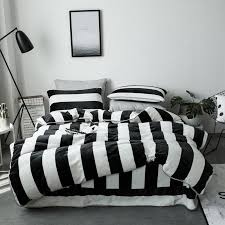 ivarose black white stripe thick fleece fabric queen size warm winter bedding set duvet cover bed sheet pillow cases kit comforter set hotel collection