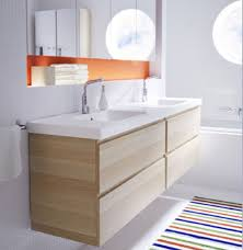 modern bathroom cabinet doors. Colorful Striped Rug And Wooden Floating Trendy IKEA Cabinet With Frameless Mirror For Modern Bathroom Ideas Doors