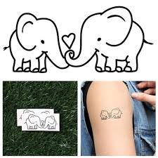 Tattify Elephant Couple Temporary Tattoo Lovers Set Of 2 Other Styles Available And Fashionable Temporary Tattoos Tattoos That Are Long