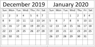 December January 2020 Calendar Holidays Template Free